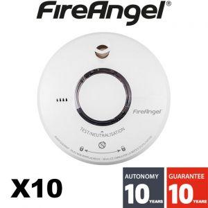 FireAngel Lot de 10 détecteur de fumée NF ST620 - Autonomie 10 ans - Garantie 10 ans