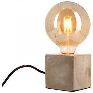 Xanlite Lampe à poser cube en béton + ampoule globe G125 vintage incluse