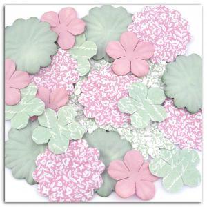 Toga 25 fleurs de papier imprimées - Shabby Love