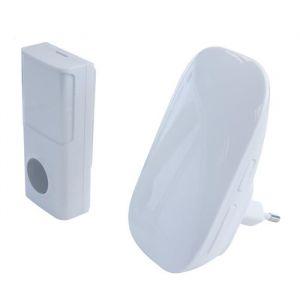 Chacon Carillon sans fil - Sans pile - Bouton-poussoir IP44 en auto-alimentation - Sans fil - 4 options d'alerte - Portée : 100 m - Volume réglable