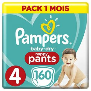 Pampers Baby Dry Pants - Couches-culottes Taille 4 (8-14 kg) - Pack 1 mois (x160 culottes)