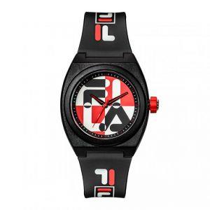 FILA : Montre 38-180-102 - Quartz Boitier rond en plastique noir Cadran noir et rouge Bracelet noir en plastique Homme,Femme