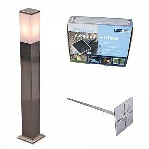 Qazqa Lampe d extérieur Malios P80 acier avec piquet de terre manchon de câble