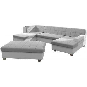 Comforium Canapé d'angle panoramique design avec méridienne droite et pouf en tissu gris clair et cuir synthétique blanc