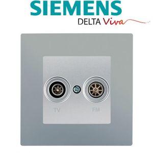 Siemens Prise TV / FM Silver Delta Viva + Plaque Silver