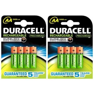 Duracell 4 piles rechargeables 1.2V AA LR06 Duralock