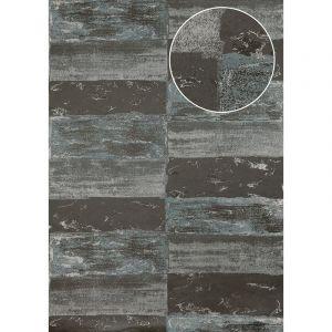 Atlas Papier peint aspect pierre carrelage ICO-2705-3 papier peint intissé lisse avec un dessin nature satiné gris argent gris petit-gris 7,035 m2