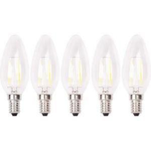 XQ-Lite Lot de 5 ampoules LED filament E14 flamme 2W équivalence 20W - Culot E14 - 2W équivalent à 20W - Couleur blanc chaud - 2700K - 210lm - Durée de vie : 15000h.
