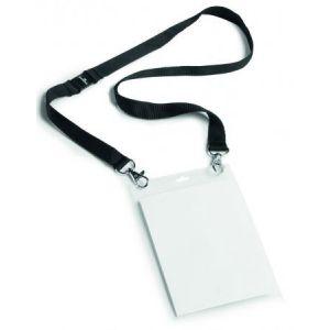 Durable 8525-01 - Boîte de 10 porte-badges, pour format A6, avec lacet textile et mousquetons, noir