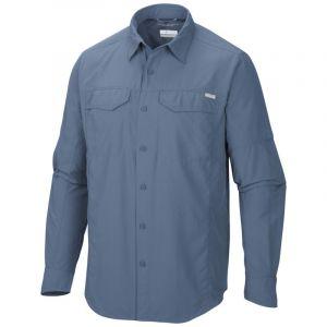 Columbia Chemise de Randonnée Longues Manches Homme, Silver Ridge Long Sleeve Shirt, Nylon, Bleu (Steel), Taille: XXL, AM7453