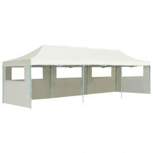 VidaXL Tente de réception pliable avec 5 parois 3x9 m Blanc cassé