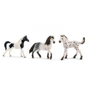 Schleich Figurines de chevaux (Étalon pintabian, Étalon andalou, poulain knabstrupper)