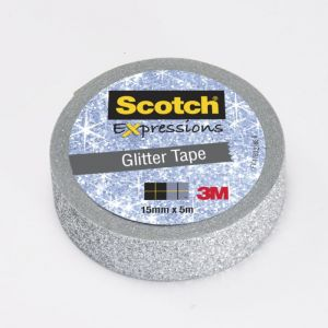 Scotch Ruban masking tape Expression - 15 mm x 5 m - pailleté argent