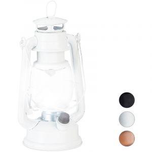 Relaxdays Lanterne tempête LED, Retro comme décoration de fenêtre ou Lampe Jardin, à Piles, Blanche, Blanc