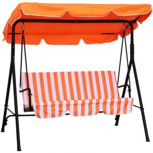 Outsunny Balancelle de jardin 3 places toit imperméabilisé inclinaison réglable coussins assise et dossier 1,72L x 1,1l x 1,52H m acier noir polyester orange