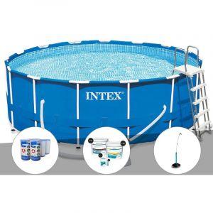 Intex Kit piscine tubulaire Metal Frame ronde 4,57 x 1,22 m + 6 cartouches de filtration + Kit de traitement au chlore + Douche solaire