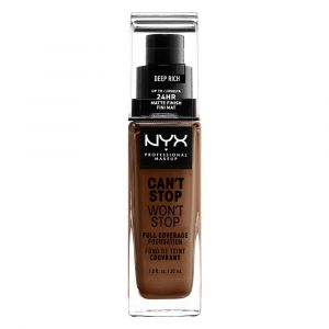 NYX Cosmetics Can't Stop Won't Stop - Fond de Teint Liquide Couvrant Tenue Waterproof, Fini Mat - Longue Tenue - Deep Rich - Marron - 24 h