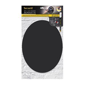 Securit Ardoise ovale murale Silhouette - L29,8 x H37,7 cm - en forme ovale - double face - accessoires - noir