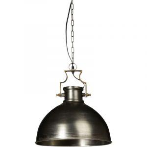 Relaxdays 10019222 Luminaire lampe à suspension style industriel HxlxP 145 x 40,5 x 40,5 cm abat-jour forme de cloche et chaîne en métal douille E27 40W plafonnier, gris argenté