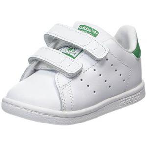 Adidas Stan Smith CF I, Chaussures Premiers Pas mixte bébé, Blanc (Footwear White/Footwear White/Green), 25.5 EU
