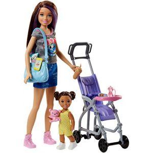 Mattel Poupée Barbie - Coffret Baby-Sitter Poussette