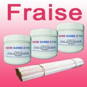 Azur Confiserie 3 pots de sucre barbe à papa Fraise 500g + 100 bâtons