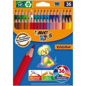 Bic 950526Kids Evolution Crayons de couleur%u2013Couleurs assorties (Lot de 36)