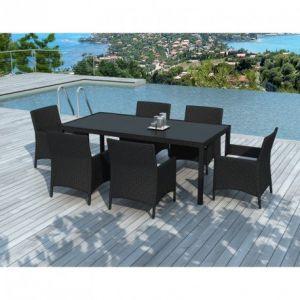 Delorm Design ESCONDIDO - Table et chaise de jardin 6 personnes en résine tressée noire