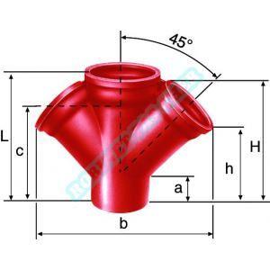 Pont à mousson Embranchement Culotte double SME à 45° en fonte diamètre nominal 125-100 mm Réf. 156181 PAM