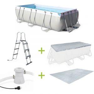 Alice's Garden Kit grande piscine tubulaire Topaze 8m² grise, piscine rectangulaire 4x2m avec pompe de filtration, bâche de protection, tapis de sol et échelle, piscine hors sol armature acier