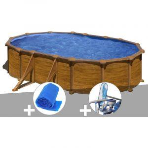 Gre Kit piscine acier aspect bois Mauritius ovale 5,27 x 3,27 x 1,32 m + Bâche à bulles + Kit d'entretien