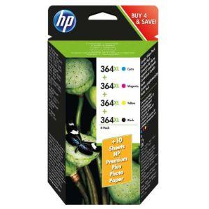 HP J3M83AE - Combo Pack de 4 cartouches d'encre 364XL (noire, jaune, magenta et cyan)