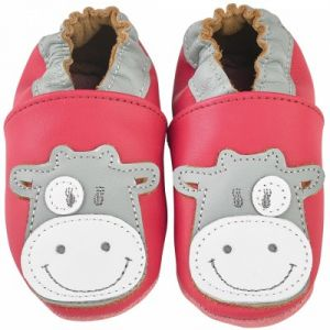 Noukie's Chaussons cuir Lola framboise (0-6 mois)