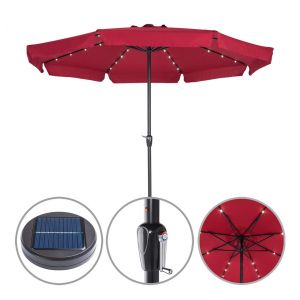 Deuba Kingsleeve Parasol Aluminium Rouge 3,3m Athènes inclinable éclairage 32 LED Protection manivelle Souple cantonnières Parasol Protection Soleil terrasse Balcon