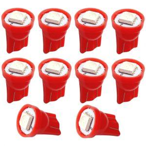 Aerzetix : 10x ampoule T10 W5W 12V LED SMD rouge veilleuses éclairage intérieur plaque d'immatriculation seuils de porte plafonnier pieds lecteur de carte coffre compartiment moteur