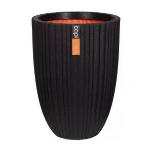 Capi Pot à fleurs Urban Tube Élégant bas 46 x 58 cm Noir KBLT783