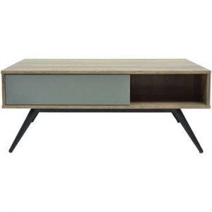 BAOFARA Table b e avec piètement en métal Laqué noir décor c ne et gris L 100 x P 60 x H 40 cm