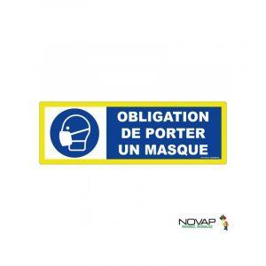 Novap Panneau adhésif Obligation de porter un masque - Haute visibilité - 450x150mm