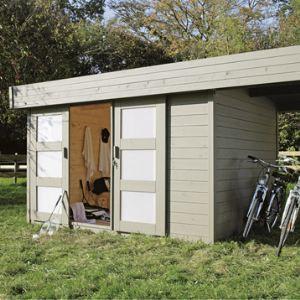 Solid S8221 - Abri de jardin Larvik avec auvent en bois 28 mm 10,82 m2