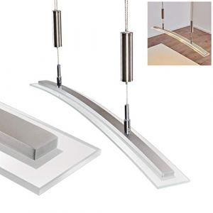 Hofstein Suspension LED Durbuy en métal/nickel mat - Luminaire allongé pour salle à manger - salon - chambre à coucher - cette lampe est réglable en hauteur à l'aide des contrepoids