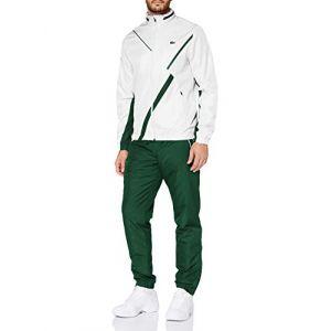 Lacoste Sport WH2045 Pantalon de survêtement, Blanc/Vert, XS Homme