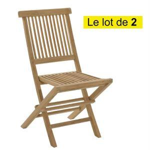 2 chaises de jardin pliantes Java en teck