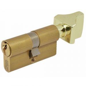 Vachette Cylindre de sureté à bouton V5 - Dimensions 30 x 30 mm - Laiton poli