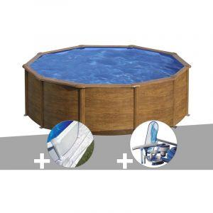 Gre Kit piscine acier aspect bois Sicilia ronde 4,80 x 1,22 m + Tapis de sol + Kit d'entretien