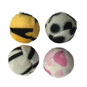 Codico Jouet pour chat - Set de 4 balles -Zébrées - Polyester - Ø4cm