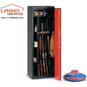 TECHNOMAX T/705R - Armoire à fusils à clé rangement 5 fusils