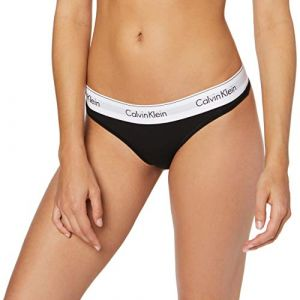 Calvin Klein Underwear Modern Cotton - Thong - Culotte - Uni - Femme - Noir (bla 001) - Taille: XS