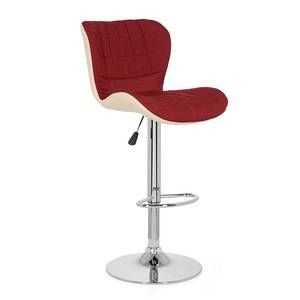 hjh OFFICE Chaise de bar / tabouret de bar LOUNGER tissu (lot de 2 / 2 tabourets) rouge vin