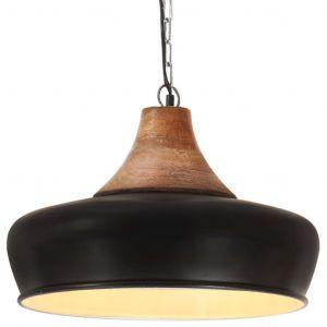 VidaXL Lampe suspendue industrielle Noir Fer et bois solide 26 cm E27