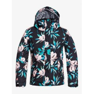 Roxy Jetty-Veste de Snow pour Fille 8-16 Ski, True Black Tropical Day, FR : L (Taille Fabricant : 12/L)